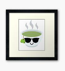 Green Tea Emoji Cool Sunglasses Framed Print