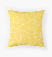 Mustard Yellow White Mosaic Lines Throw Pillow