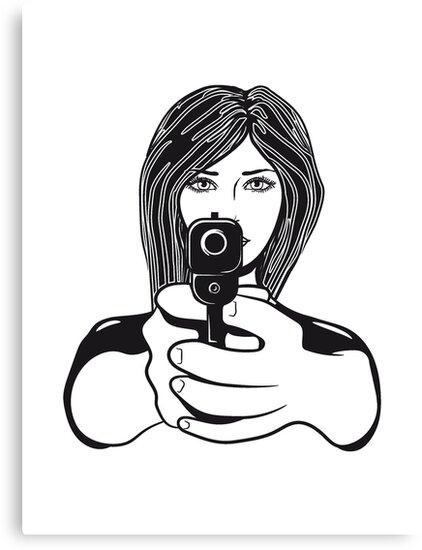 Sagittarius Gun Woman Canvas Prints By Motiv Lady