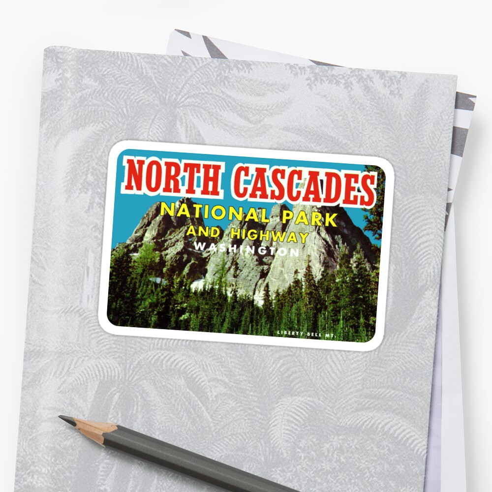 North Cascades National Park Vintage Travel Decal by hilda74