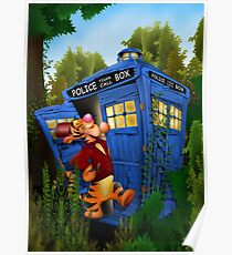 Doctor Tiger with Blue Phone Box Poster