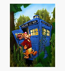 Doctor Tiger with Blue Phone Box Photographic Print