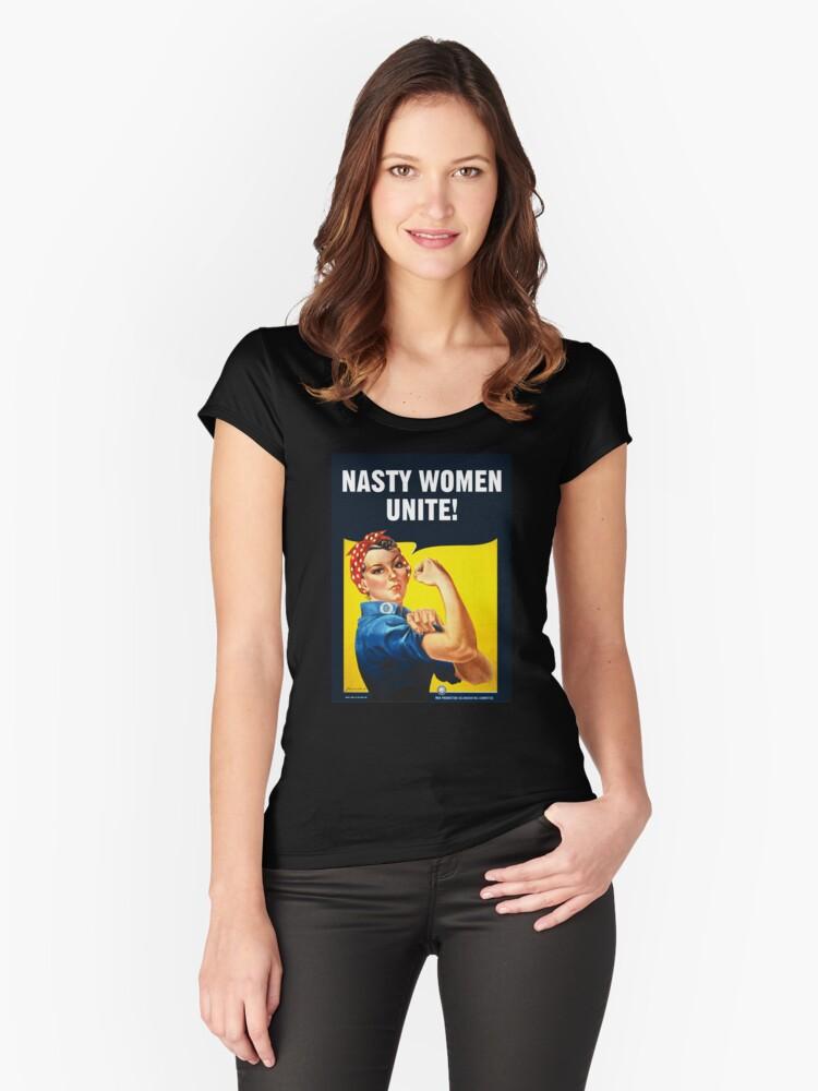 681c6fe5 NASTY WOMEN UNITE! - Rosie The Riveter Women's Fitted Scoop T-Shirt Front