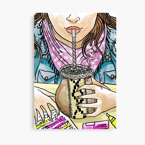 girl driking hot yerba mate infusion Canvas Print