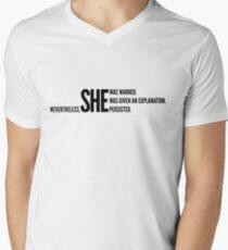 Nevertheless She Persisted (Black Staggered) Men's V-Neck T-Shirt