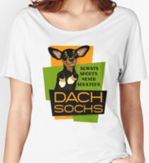 Happy Dachshund in Socks Retro T-shirt- original art Women's Relaxed Fit T-Shirt