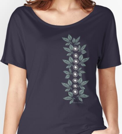 Leaf & Flower Pattern Women's Relaxed Fit T-Shirt