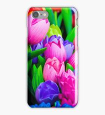 Wooden tulips souvenirs painted in vivid colours iPhone Case/Skin