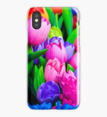 Wooden tulips souvenirs painted in vivid colours iPhone Case