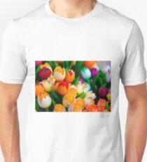 Wooden tulips souvenirs painted in vivid colours Unisex T-Shirt