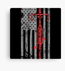 Thin Red Line Cycling Flag Canvas Print