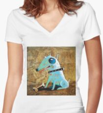 Blue dog Women's Fitted V-Neck T-Shirt