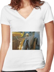 Vintage car detail with wheels Women's Fitted V-Neck T-Shirt