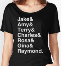 Brooklyn Nine Nine Character List (White Text) Women's Relaxed Fit T-Shirt