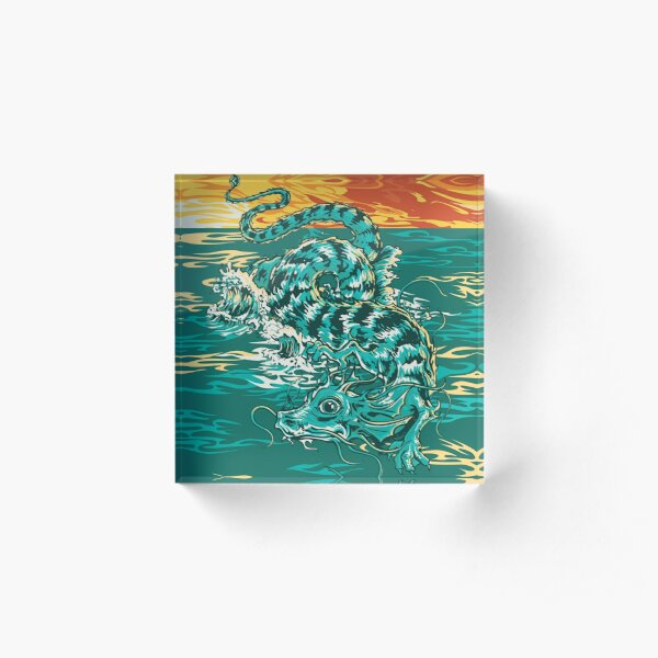 Fuzzy Dragon on the Sea in a Sunset Acrylic Block