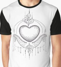 Dotwork heart and decorative lace. Graphic T-Shirt