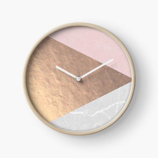 Geo tri - rose gold & concrete Clock