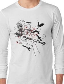 White Beautiful Vintage Woman Hand, Ravens and Dark Roses T-Shirt Long Sleeve T-Shirt