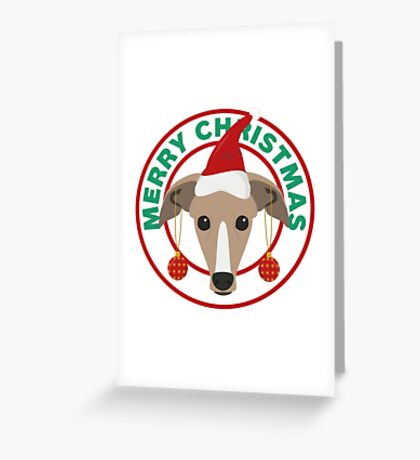 Merry Christmas Greyhound Dog Greeting Card