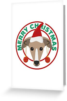 Merry Christmas Greyhound Dog by CafePretzel