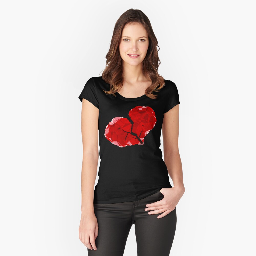 Broken Red Heart Polygon Abstract Fitted Scoop T-Shirt