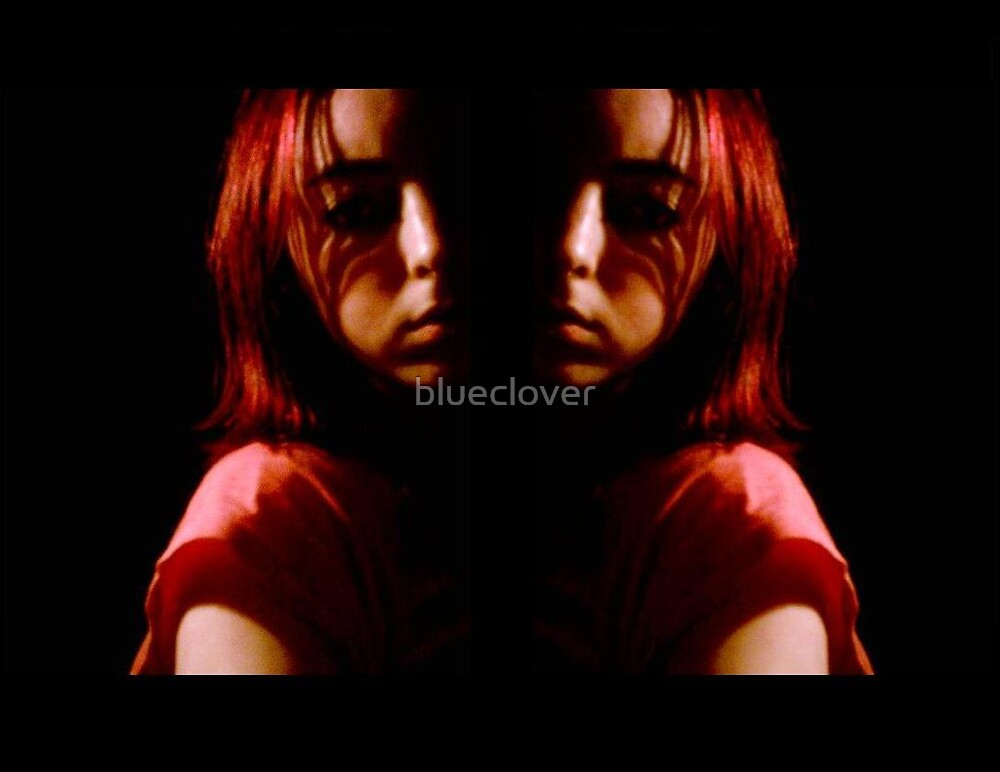 Mirror image Self Portrait in the Dark by blueclover