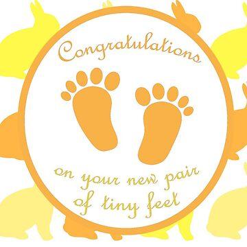 New Pair of Tiny Feet - Yellow/Orange by GeekyCatDesign