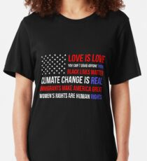 Love Is Love Black Lives Anti Trump  Slim Fit T-Shirt