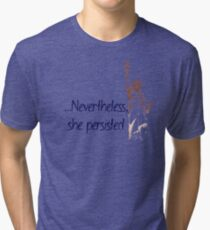 Nevertheless She Persisted Statue of Liberty (Navy) Tri-blend T-Shirt