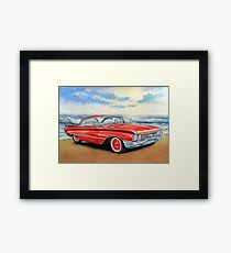 Red retro car,painting,watercolor,acrilic Framed Print