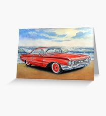 Red retro car,painting,watercolor,acrilic Greeting Card