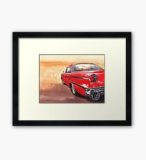 Red retro car,painting,watercolor,acrylic Framed Print