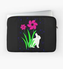 White Bunny with Flowers by Julie Everhart Laptop Sleeve