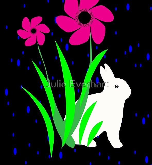 White Bunny with Flowers by Julie Everhart by Julie Everhart