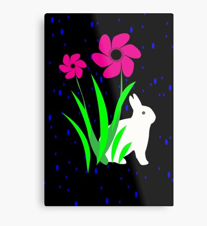 White Bunny with Flowers by Julie Everhart Metal Print