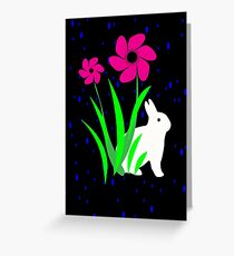 White Bunny with Flowers by Julie Everhart Greeting Card