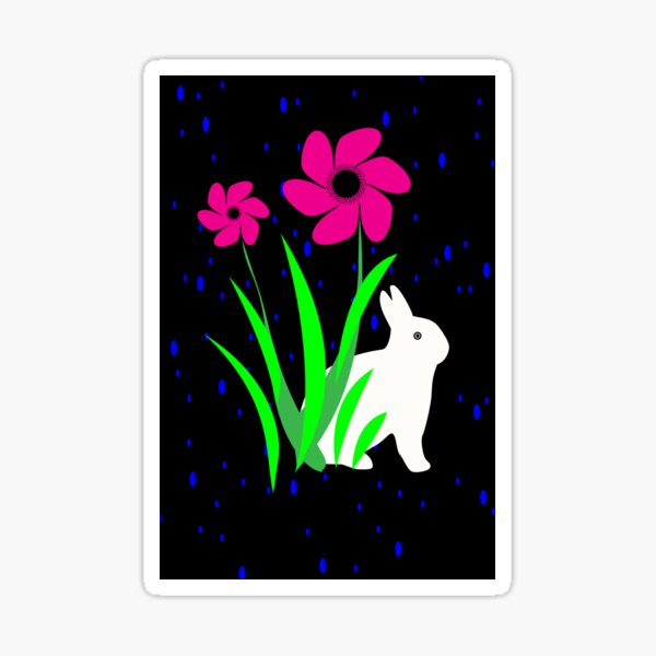 White Bunny with Flowers by Julie Everhart Sticker
