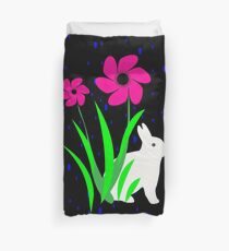 White Bunny with Flowers by Julie Everhart Duvet Cover
