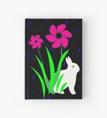White Bunny with Flowers by Julie Everhart Hardcover Journal