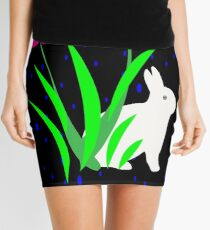 White Bunny with Flowers by Julie Everhart Mini Skirt