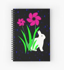 White Bunny with Flowers by Julie Everhart Spiral Notebook