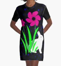 White Bunny with Flowers by Julie Everhart Graphic T-Shirt Dress