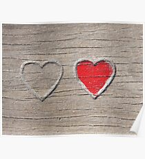 Two Hearts on Wood Poster
