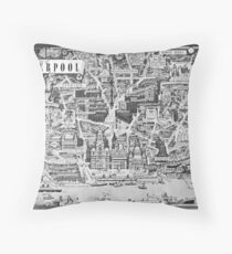 Old Map Of Liverpool Throw Pillow