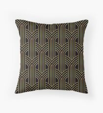 Art deco,gold,black,chic,elegant,1020's,great the Gatsby,pattern,retro,vintage, beautiful,scale,shaped,decor,decorative,contemporary,style,stylish Throw Pillow