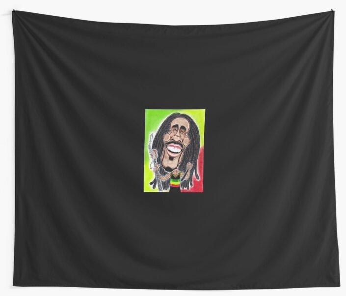 Reggae Rasta Jamaican Caricature Drawing Wall Tapestries By