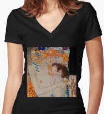 Gustav Klimt, mother and child,reproduction,art nouveau,great art from vintage painters Women's Fitted V-Neck T-Shirt