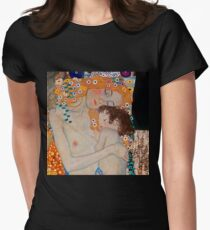 Gustav Klimt, mother and child,reproduction,art nouveau,great art from vintage painters Womens Fitted T-Shirt