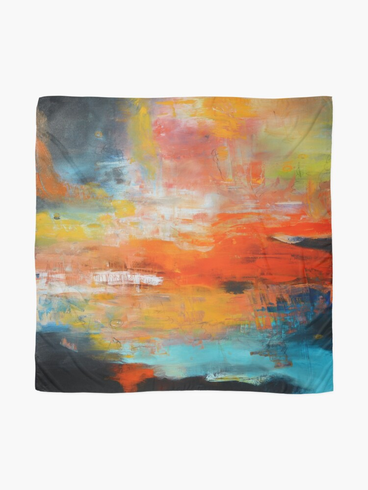 Alternate view of Red abstract sunset landscape painting Scarf