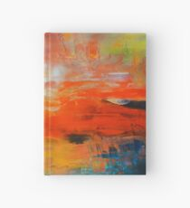 Red abstract sunset landscape painting Hardcover Journal